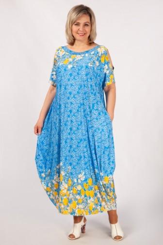 Платье Алиса: Цвет голубой/тюльпаны фото: #1