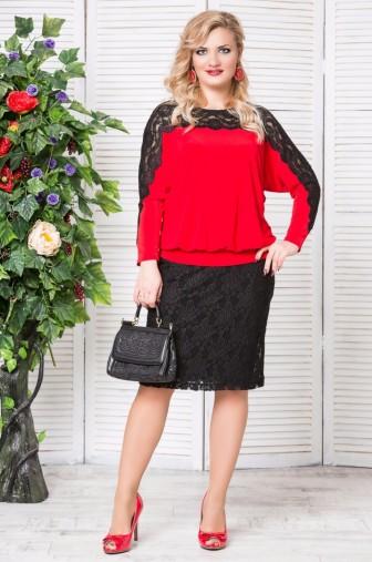 Блуза «Кружево». Цвет: Красный фото: #1