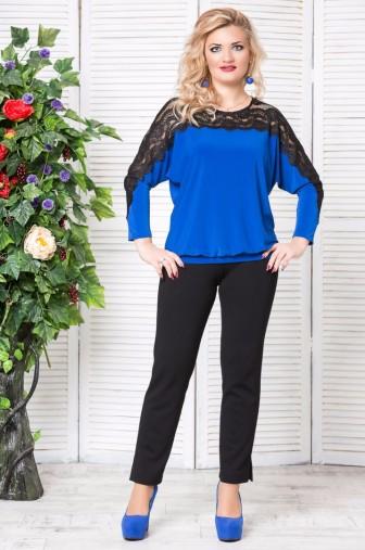 Блуза «Кружево». Цвет: Василек фото: #1