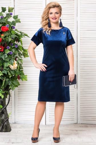 Платье «Бархат». с брошкой. Цвет: синий фото: #1