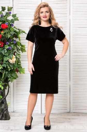 Платье «Бархат». с брошкой. Цвет: чёрный фото: #1