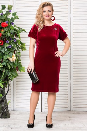 Платье «Бархат». с брошкой. Цвет: бордо фото: #1